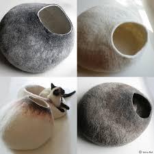custom felted cat bed  hand felted wool cat bed  vessel  crisp
