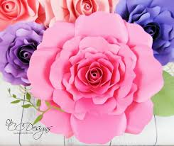 Diy Paper Flower Tutorials Giant Paper Rose Patterns Tutorials Diy Paper Flower Template Svg Cut Files Backdrop Wedding Decor By Catching Colorflies