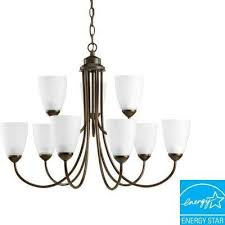 gather 9 light antique bronze chandelier with etched glass