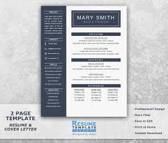 One Page Resume Template Word Resume Cover Letter Templates Cv