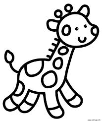 Coloriage Giraffe Facile Enfant Maternelle Dessin