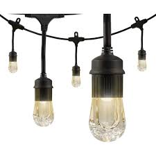 Home Depot Cafe Lights Enbrighten 18 Bulb 36 Ft Cafe Integrated Led String Lights Black