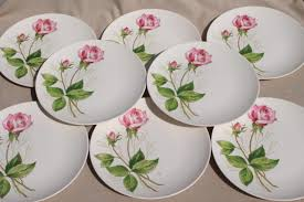 Rose Pattern China Classy Pink Tea Rose Pattern Plates Midcentury Vintage Knowles China