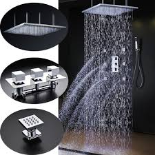 sicily 20 40 large chrome led rain shower head with jets