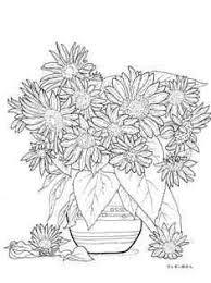たくさんの向日葵の花瓶の塗り絵の下絵画像