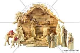 wood nativity set olive wood