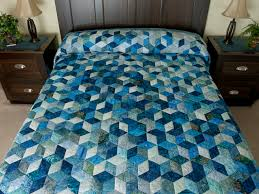 Tumbling Blocks Quilt -- superb specially made Amish Quilts from ... & Tumbling Blocks Queen Size Quilt Batiks in Blues Photo ... Adamdwight.com