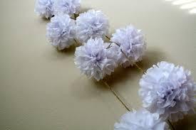 optic white diy tissue paper pom pom garland nursery decorations diy wedding