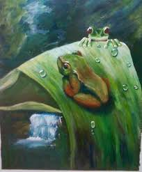 Myra Reeves painted this lush rain forest, and cute green frogs. Look how  wonderful the water droplets are and waterfal… | Waterfall paintings,  Animal art, Painting