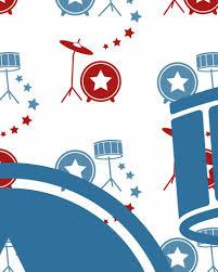 Behang Muziek Met Drumstel Rood Blauw Tinklecherry