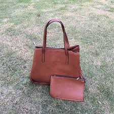 whole blanks pu vegan leather tote bag brown composite bag with small comsetic bag handbag dom103454