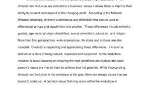 diversity and inclusion informative essay seelio