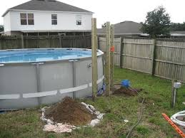 intex above ground pool decks. Simple Ground Initial Posts For Deck Throughout Intex Above Ground Pool Decks N