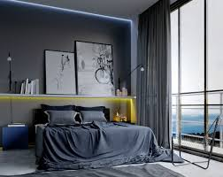 Awesome Amazing Design Of The Bedroom For Men Ideas With Black Bed Added With Grey  Wall Ideas