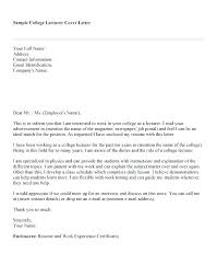 Cover Letter For College Professor Position College Professor Cover