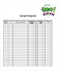 Transaction Register Template Bank Checkbook Printable Checking