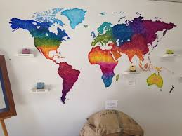 world map painting colours head board idea wall decoration