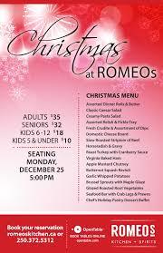 christmas dinner poster christmas day romeos romeos kitchen and spirits