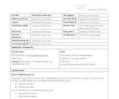 Simple Job Description Template Form Free Format