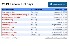 List Of Federal Holidays For 2019 And 2020