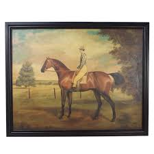 large horse and jockey oil on canvas painting 1980