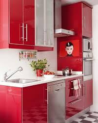 Red And Black Kitchen Kitchen Fascinating Red Kitchen Cabinet Designs With Black Metal