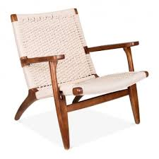 ch25 lounge chair brown natural seat
