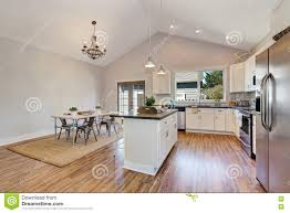 Kitchen With Vaulted Ceilings Interior Of Kitchen And Dining Room With High Vaulted Ceiling