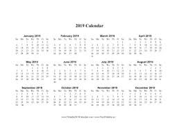 Horizontal Calendar Printable 2019 Calendar On One Page Horizontal