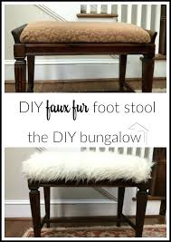 diy fur stool before and after faux fur foot stool thebungalowcom diy faux fur stool