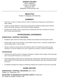 samole resume functional resume sample shipping and receiving