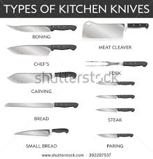 kitchen knife names. Vector Illustration Types Kitchen Knives Chef Meat Different Knife Names N