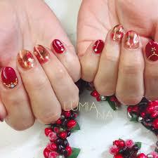 冬お正月クリスマスハンドワンカラー Lumianailのネイルデザイン