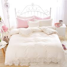white linen bed skirt unique cotton princess style lace bedding set queen size spring bed of