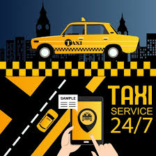 Service Advertisement Taxi Service Advertisement Yellow Car Smartphone Icons Decor Free