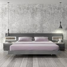 Platform Bedroom Braga Grey Lacquer Wood Contemporary Platform Bed D2d Furniture Store