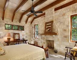 texas hill country landscaping bedroom rustic with neutral tones stone wall