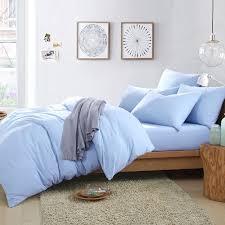 cotton knit pure color light blue duvet cover comforter sets