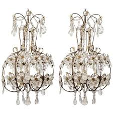 pair of 1960s italian crystal fl chandeliers for