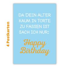4er Set Lustige Spruch Geburtstags Postkarten Da Dein Alter Kaum In