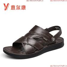 italy er kang mens sandals summer new leather beach shoes soft bottom sandals mens dual use flagship official 568723637645
