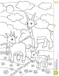 Small Picture Coloring Pages Farm Animals Goat Family Stock Vector Image