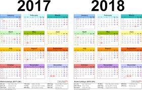 year calender two year calendars for 2017 2018 uk for word