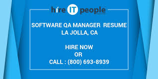 Software Qa Manager Resumes Software Qa Manager Resume La Jolla Ca Hire It People