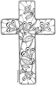 Floral Cross To Print And Colour Then Use As You Wantbookmark