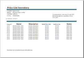 Inventory Template For Excel Microsoft Excel Price List Template Ms Excel Price List Inventory