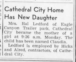 1951 birth announcement for Claudia Ledford.jpg - Newspapers.com