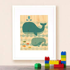 modern whale baby nursery print on wood on wall decor prints with whale prints on wood kids wall decor petit collage