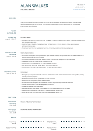 Insurance Broker Resume Samples Templates Visualcv