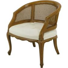 french regency walnut white leather cane back chair